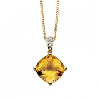Citrine and diamond necklace in 9ct yellow gold, £185