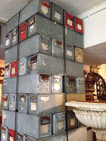 Loved these funky metal boxes that were stacked up to create fab art/walls