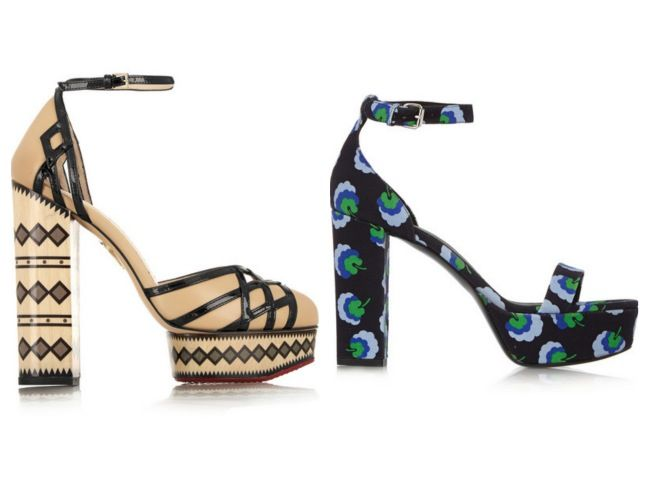 From left: Ay Caramba! leather platfoms by Charlotte Olympia £855; floral canvas sandals, by Stella McCartney, £460