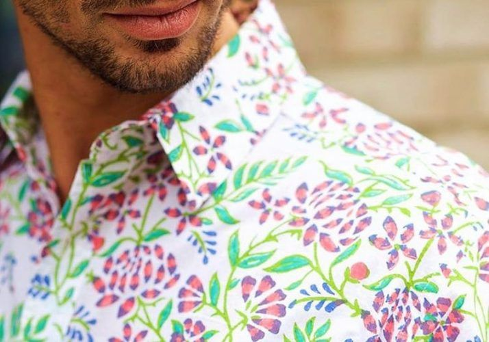 close up of detailed floral pattern on man collar shirt
