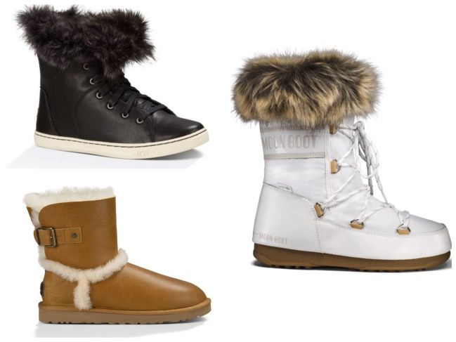 Top left clockwise: Black leather Ugg trainers £130; white Moonboots £115, Ugg Airehart boots £160