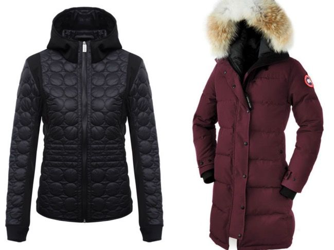 COLMAR windproof soft shell jacket, £215; Canada Goose womens parka, £799