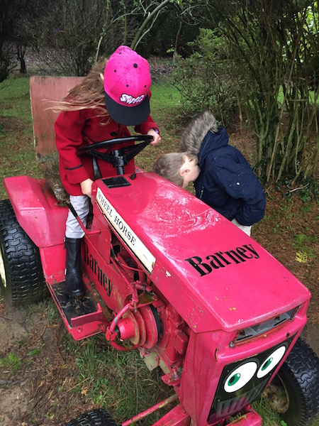 Chavvy daughter and South Park star playing hard on The Elms tractor