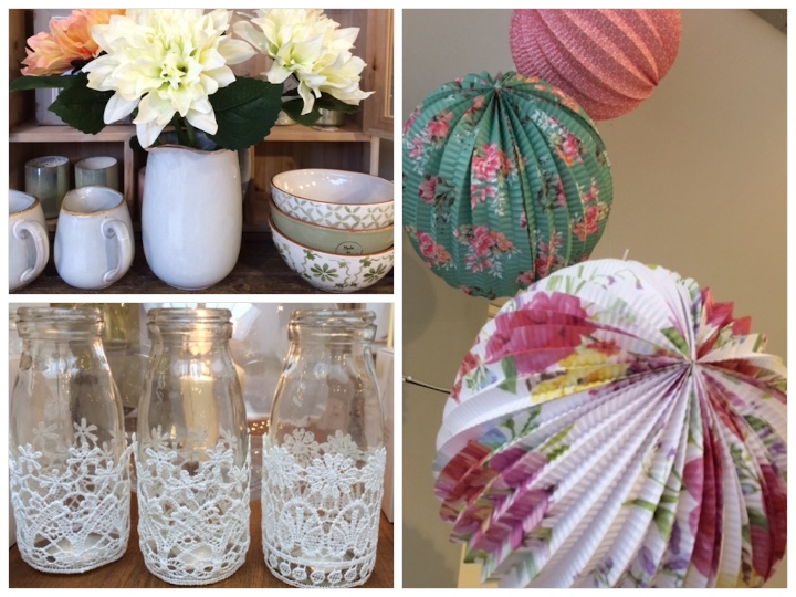 Bowls (stacked), £xx each; paper pompoms £xx; lace glasses £xx