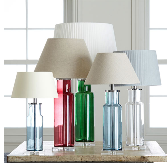 These Santerno lamps come in clear or coloured glass bases