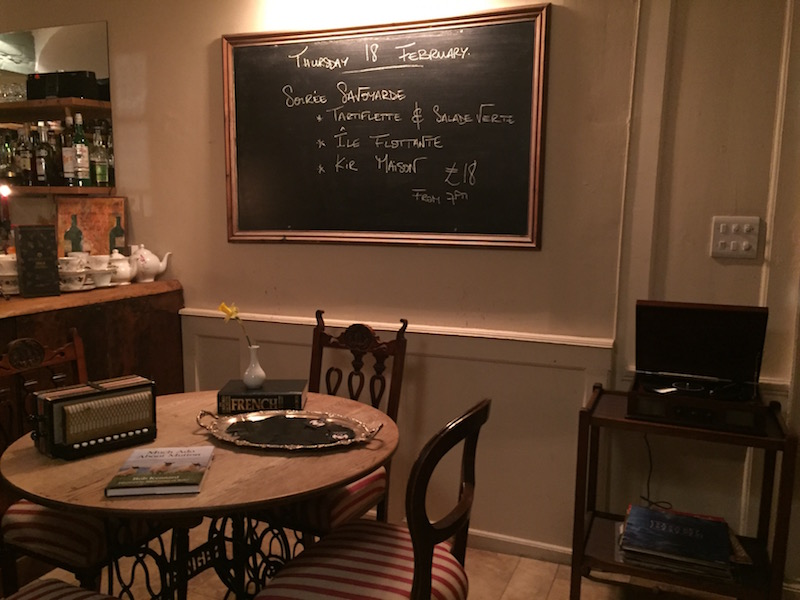interior with chalkboard