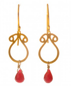 Gold arabesque ruby earrings, £89