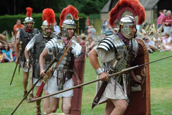 Roman legionnaires display their military skills