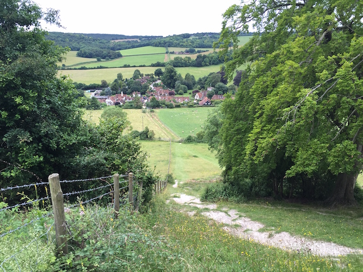The view down into Turville
