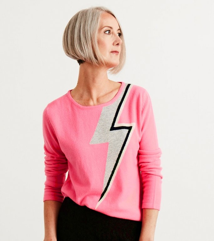 women wearing bias cut bowie pink jumper