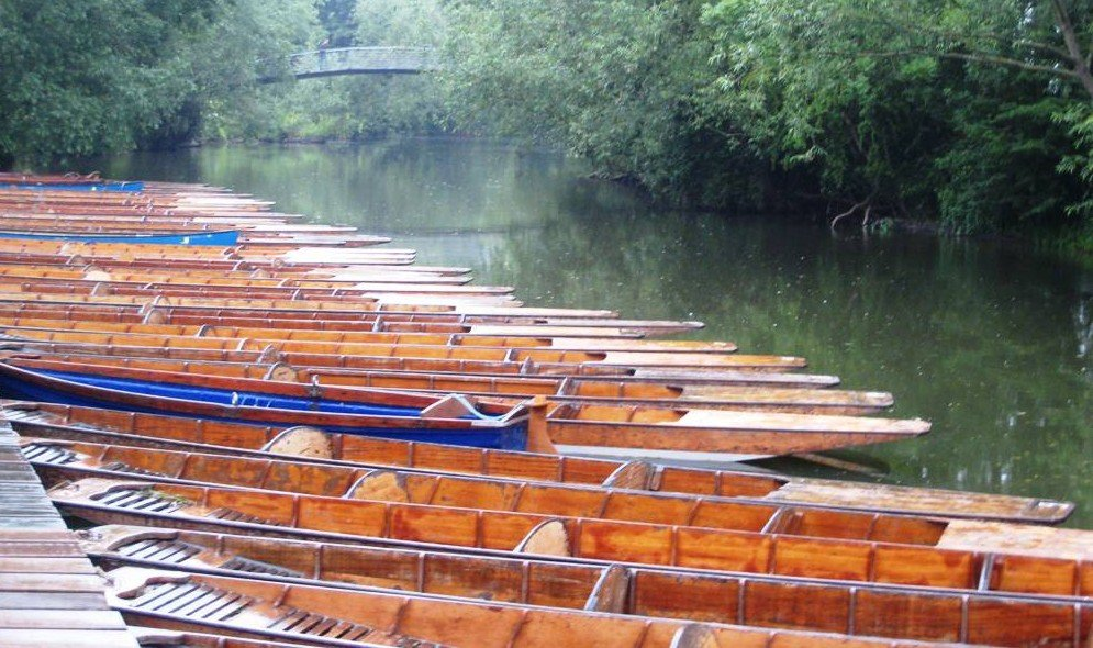 row of canoes on green lake