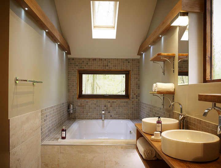 forest holidays bathroom cream tiles his and her sinks