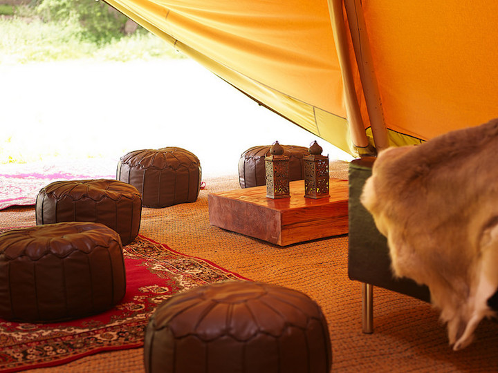 Tippees in the forest clearing brown leather bean bag chairs