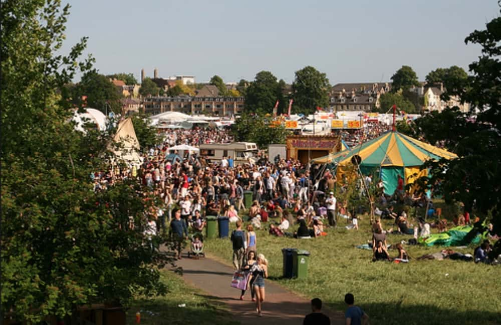 crowd and marques at strawberry fair
