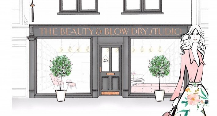 cartoon illustration woman in front of beauty blow dry studio