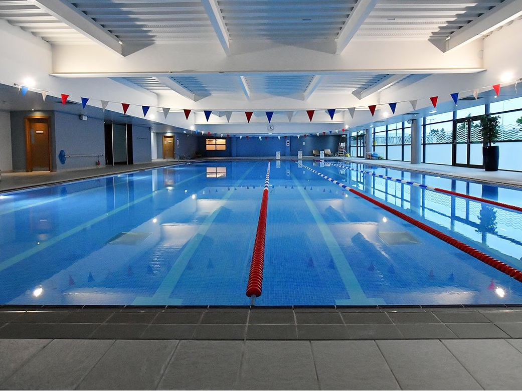 blue competition swimming pool with bunting