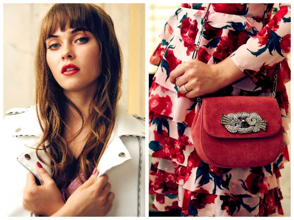 pink flowery dress white leather jacket red satchel bag