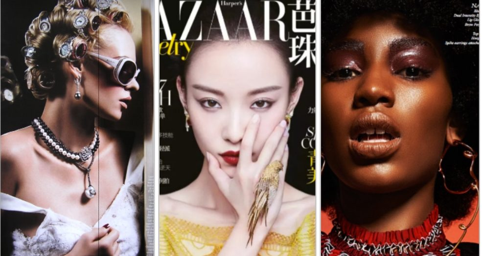 magazine covers with fei Liu jewellery