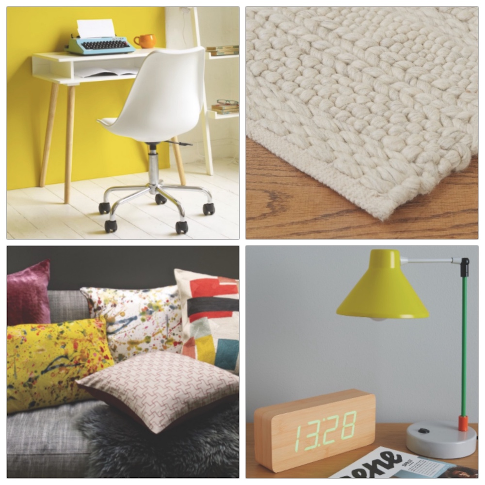 white desk chair knitted rug multicoated cushions yellow lamp wooden alarm clock