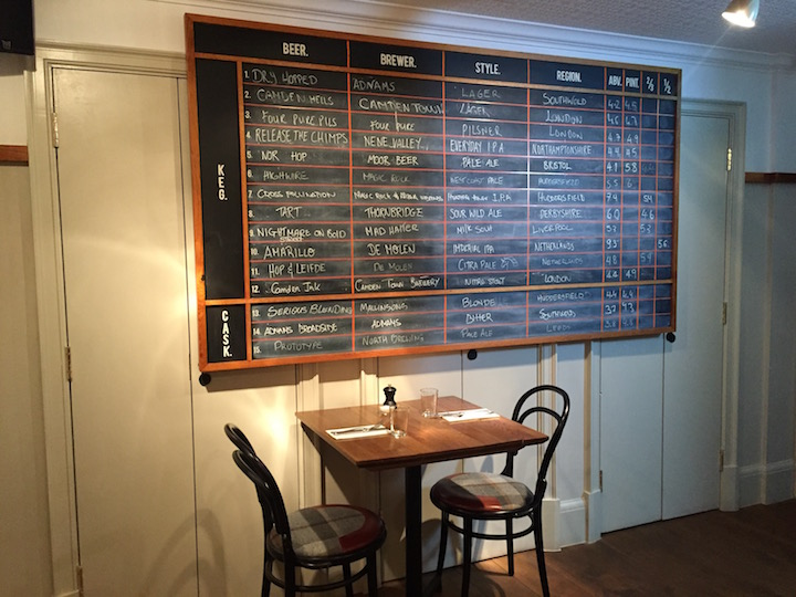 big beer menu on wall