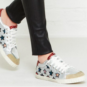 silver trainers with stars leather trousers