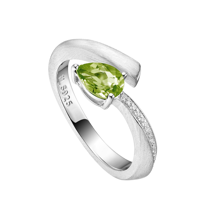 silver ring green stone