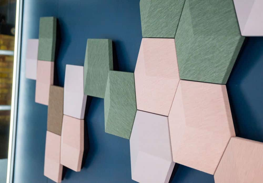pink and green hexagon tiles