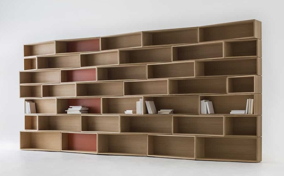 large wooden empty shelving unit