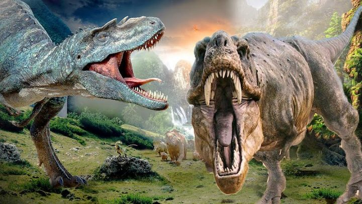 two dinosaurs roaring in prehistoric landscape