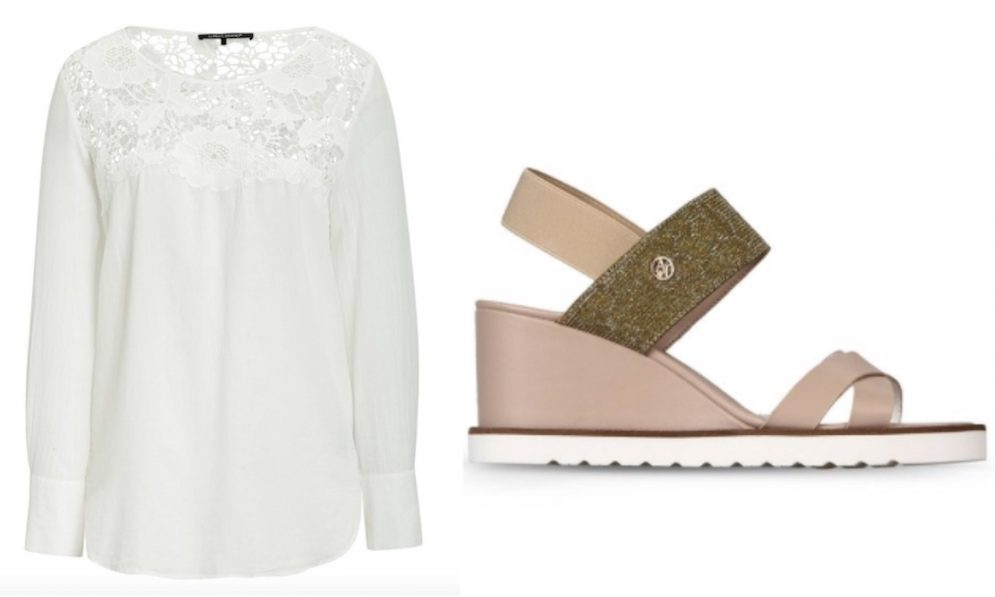 white blouse pink sandals