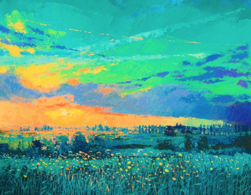 blue and green painting of country landscape