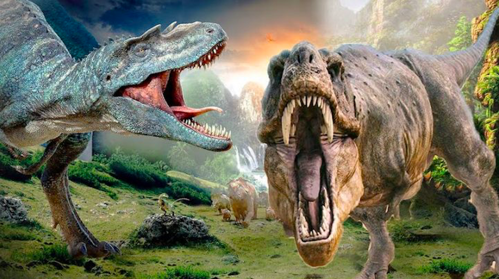two dinosaurs roaring prehistoric landscape