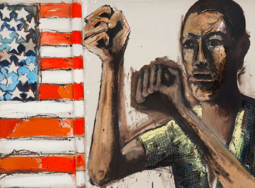 black man holding fists to American flag painting