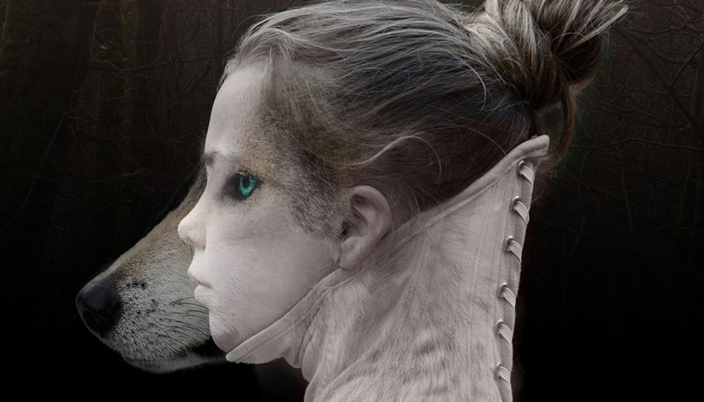 little girl with wolfs head