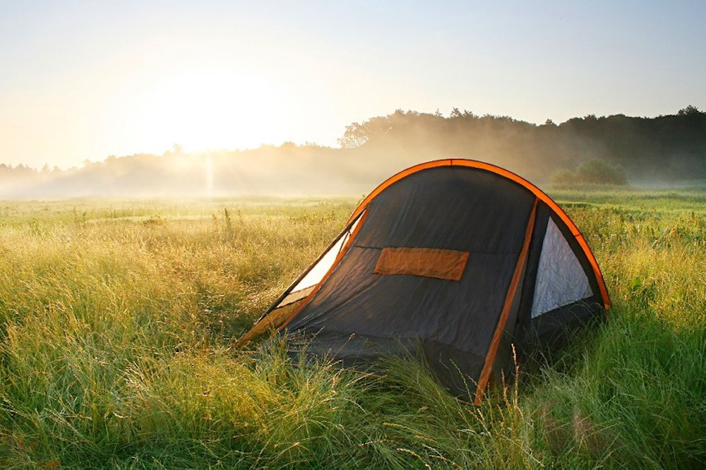 single tent in field sun setting
