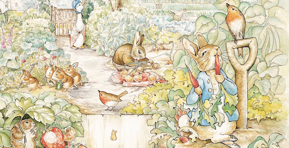 Peter rabbit illustration eating radishes in garden with furry friends