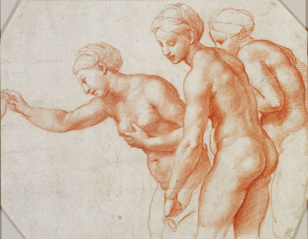 raphael orange life drawings of three women