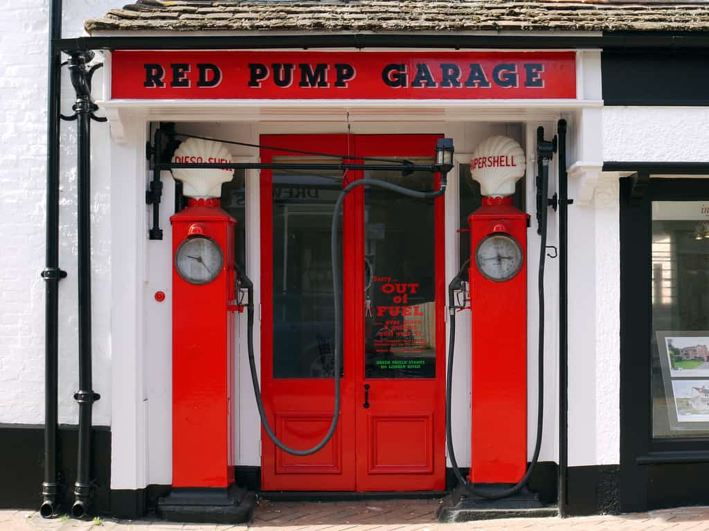 red doors red pump garage