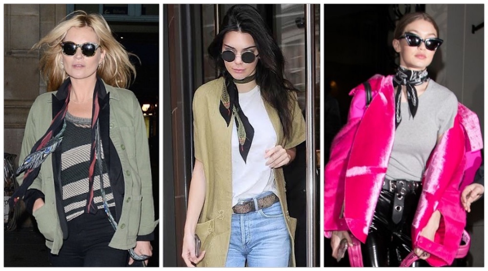 collage kendall jenner kate moss gigi hadid rockins scarf