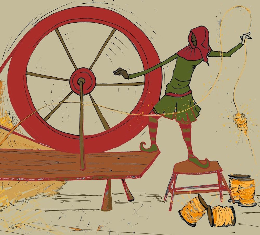 cartoon rumpelstiltskin illustration spinning wheel