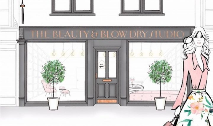 cartoon illustration woman and beauty blow-dry shop front