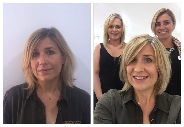 beofore and after photo of blonde woman and hairdressers