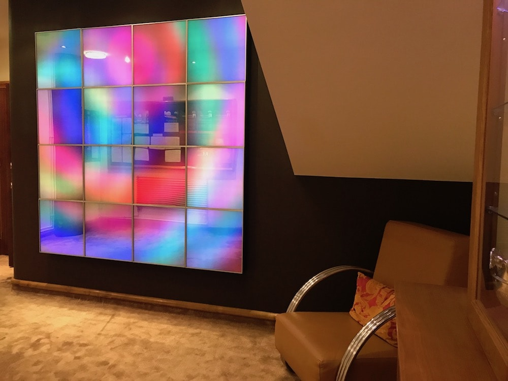 multicoloured wall light installation