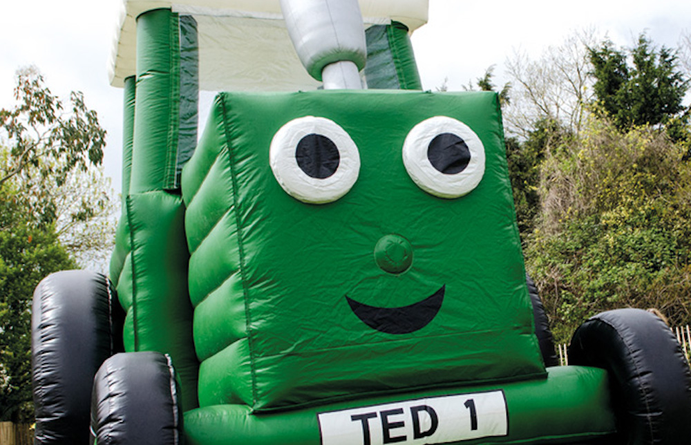 giant bouncy castle green tractor ted