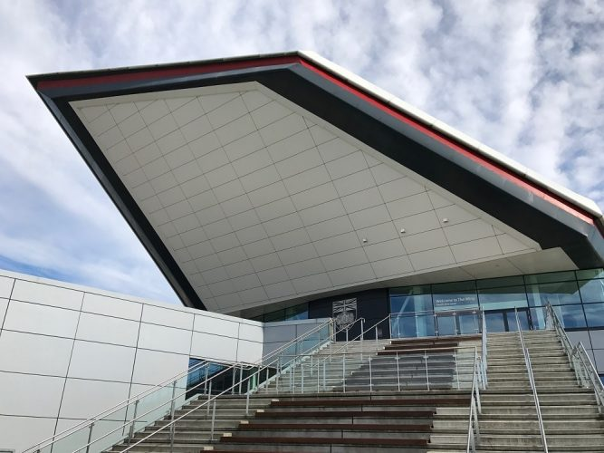 sharp angular architecture at Silverstone racecourse stairs leading to entrance