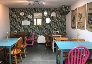 William Morris style wallpaper with lots of different shaped mirrors hanging on wall multicoulred bright tables and chairs