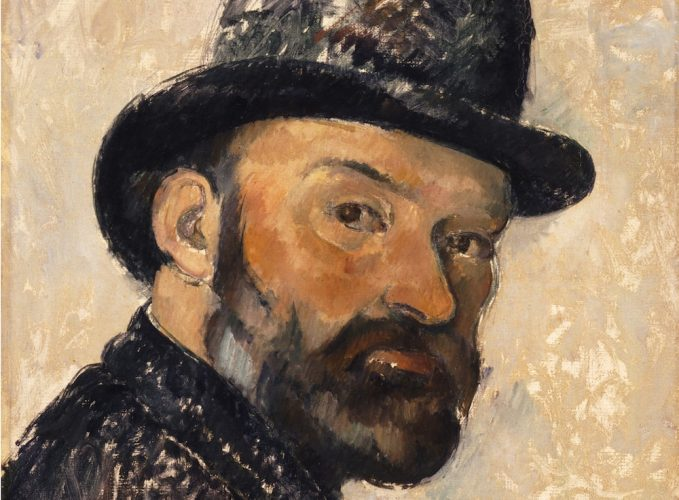 cezanne sel portrait oil painting on man with beard in a bowler hat