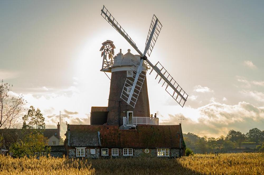 windmill by sunset
