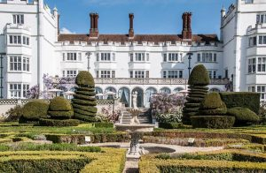 danesfield house white building hedges shaped into mass and tall shapes