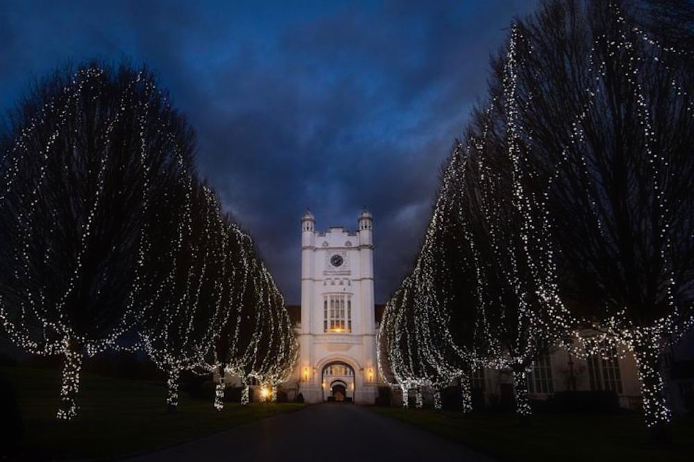 White Castle at night time with trees lining pathway wrapped in fairy lights